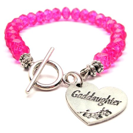 Chubby Chico Charms Goddaughter Crystal Toggle Bracelet in Hot Pink Charm Pink Ribbon Toggle Bracelet
