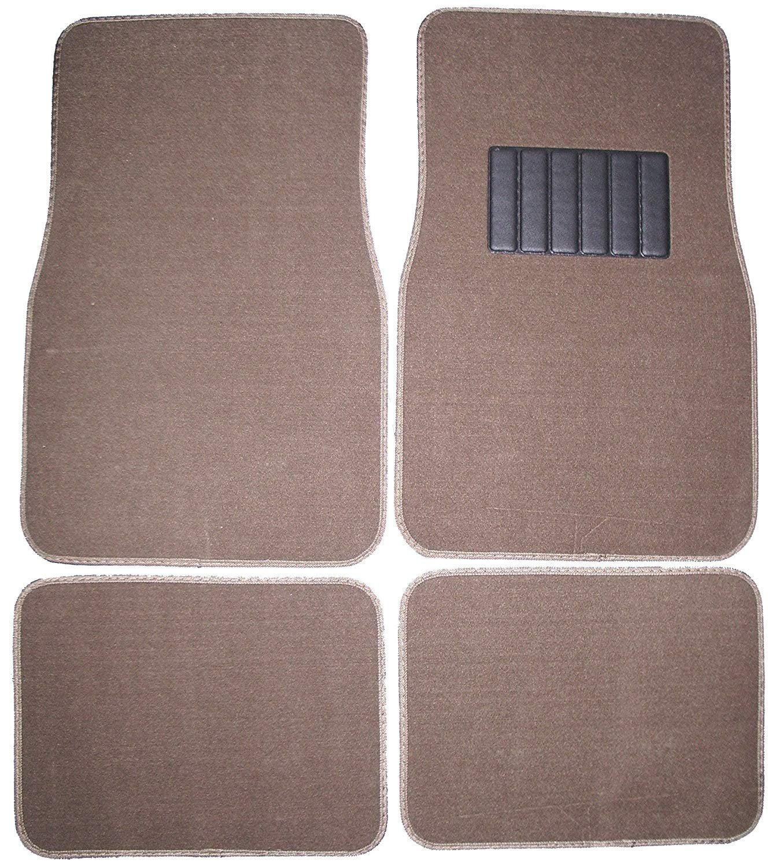 Front & Rear Carpet Car Truck SUV Floor Mats - Dark Beige