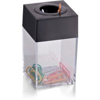 (4 Pack) Officemate Small Clip Dispenser with Magnetic Top, Clear/Black (93687)