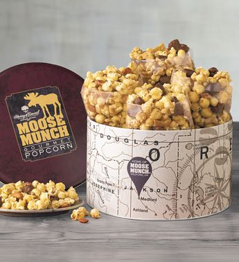 Moose Munch Classic Premium Popcorn Tin by Harry & David (4 Bags)