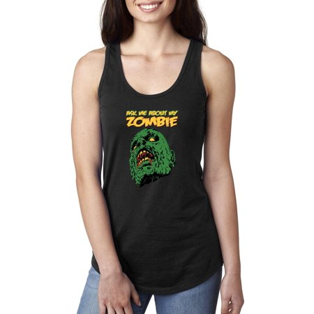Top Cheap Halloween Costume Ideas (Halloween Tank Top Ask Me About My Zombie Halloween Costumes Idea Halloween Birthday Fun Party Gift Artix Women's Next Level Ladies' Ideal Racerback Tank)