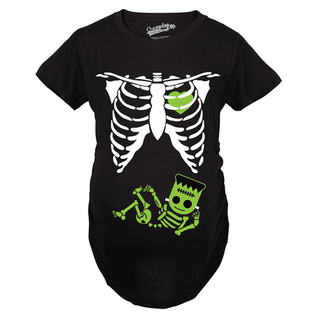 Maternity Frankenstein Baby Bump Fall Halloween Cute Pregnancy Tshirt (Black) - Daily Bumps Halloween Special