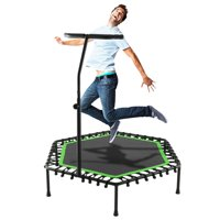 "ANCHEER 50""Cardio Training Fitness Rebounder Exercise Trampoline with Adjustable Handle for Kids Adults Workout"