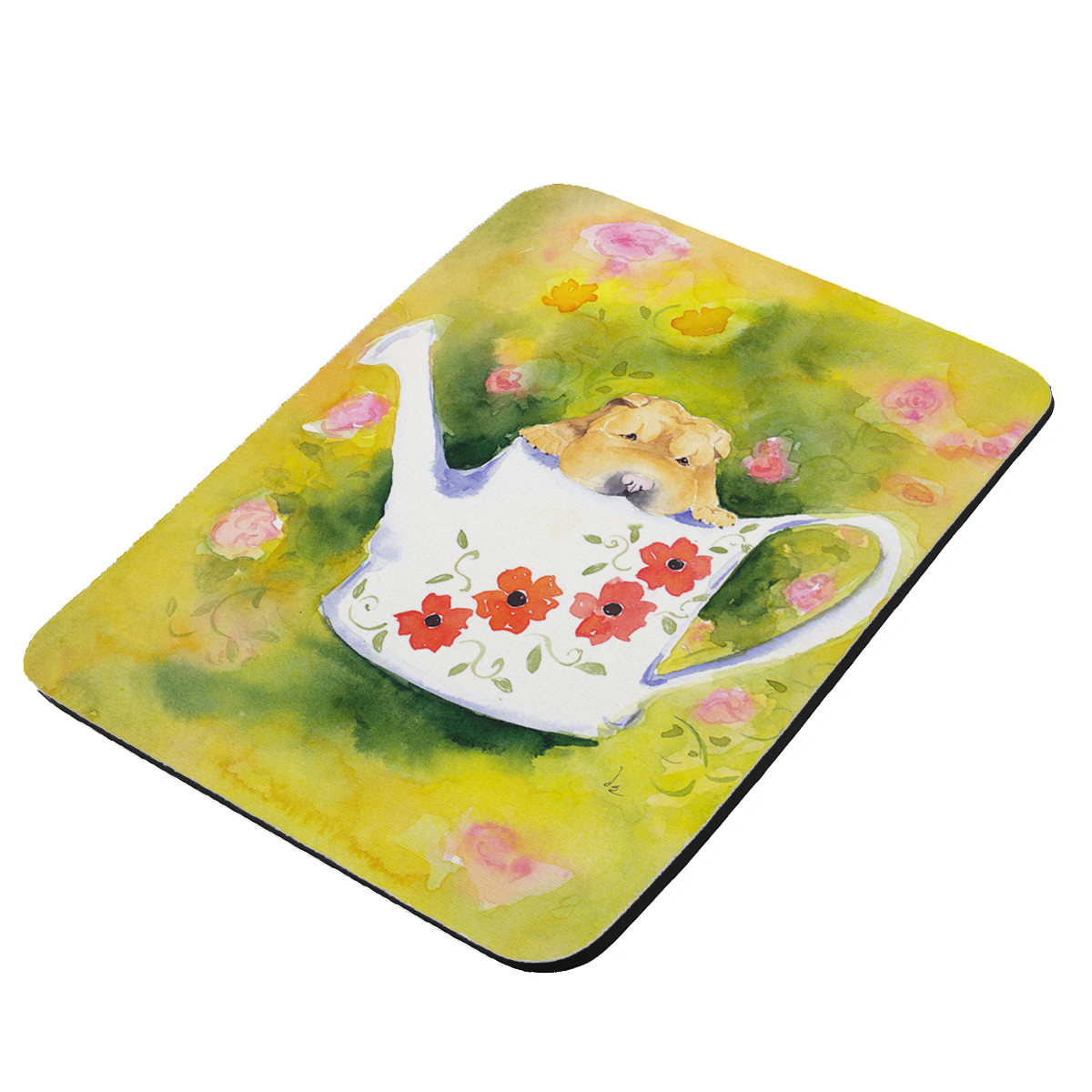 Chinese Shar-Pei Puppy in Watering Can with Flowers Art by Denise Every - KuzmarK Mousepad / Hot Pad / Trivet
