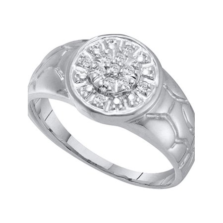 14kt White Gold Mens Round Diamond Cluster Nugget Ring 1/8 Cttw - image 1 of 1