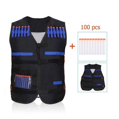 Kids Black Elite Tactical Vest with 100 PCS EVA Soft Bullets Refill Darts For N-Strike Elite Series Toy