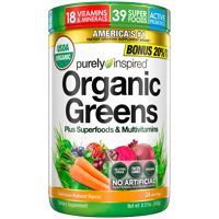 Purely Inspired Organic Super Greens Powder with Superfoods & Multivitamins, Naturally Flavored, 24 servings (8.6oz)