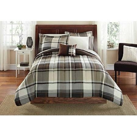 mainstays plaid bed in a bag bedding set brown. Black Bedroom Furniture Sets. Home Design Ideas