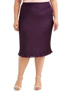 Love Sadie Women's Plus Size Jewel Tone Satin Finish Midi Skirt