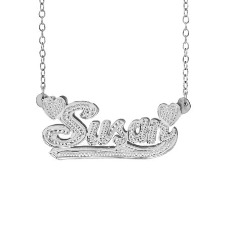 Personalized Sterling Silver or Gold Plated Double Nameplate Necklace With Beading and Rhodium on All Letters With Hearts and Tail With 18 inch Link Chain Designer Double Link Necklace