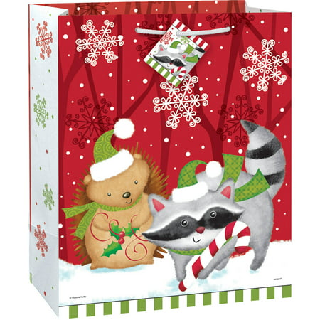 large woodland christmas gift bag