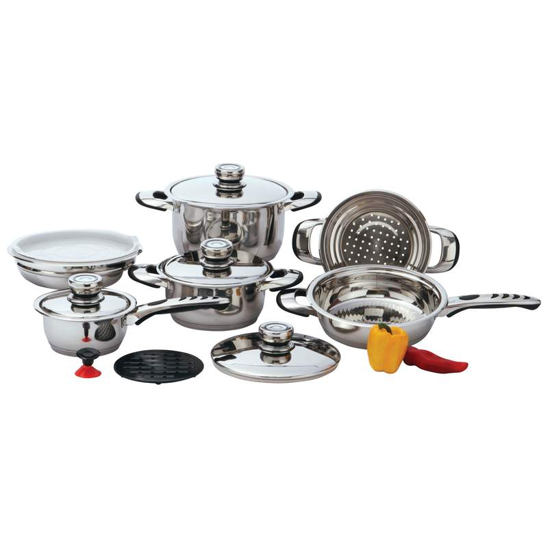 Chef' s Secret® 12pc 9-Ply Waterless Heavy-Gauge Stainless Steel Cookware Set