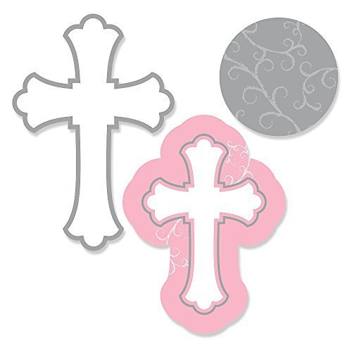 Little Miracle Girl Pink & Gray Cross - Baptism DIY Shaped Party Cut-Outs - 24 Count