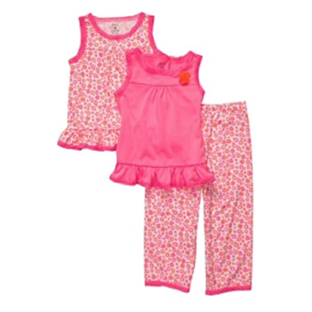 Carters Infant & Toddler Girls 3 Piece Sleepwear Set Pink Flower Pajamas PJs