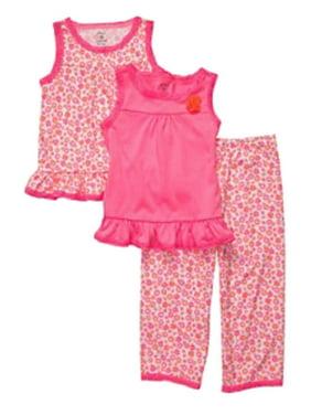 Carters Infant & Toddler Girls 3 Piece Sleepwear Set Pink Flower Pajamas PJs