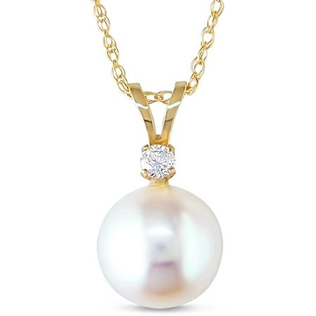 Miabella 8-8.5mm White Round Cultured Freshwater Pearl and Diamond-Accent 14kt Yellow Gold Fashion Pendant, 17