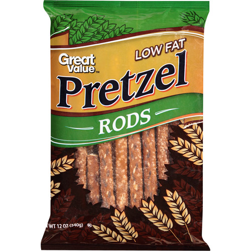Great Value Low Fat Pretzel Rods, 12 oz