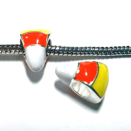 3 Beads - Halloween Candy Corn Enamel Silver European Bead Charm E1366