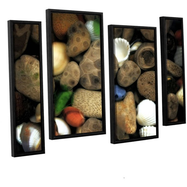 Artwall Kevin Calkins Petoskey Stone Collage Iii 4 Piece Floater Framed Canvas Staggered Set Walmart Com Walmart Com