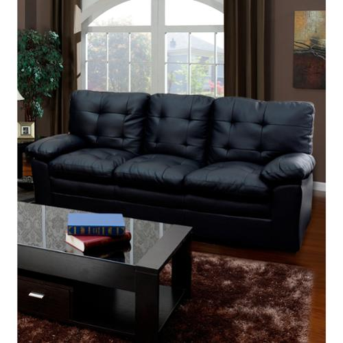 Easy Home Living Black Tufted Faux Leather Sofa