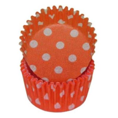 Mini Orange & White Polka Dot Baking Cupcake Liners - 100 Count - Polka Dots Cupcakes