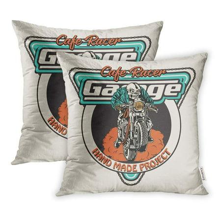 YWOTA Biker Cafe Racer Skeleton Rider Black Emblem Pillow Cases Cushion Cover 20x20