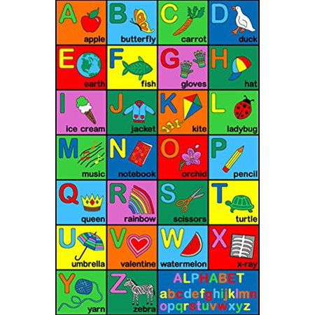 Area Rug Kids Room Play and Learn Carpet ALPHABET ABC Learning Design Play Time (Alphabet Carpet)