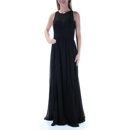 Empire Waist Summer Dresses (RALPH LAUREN Womens Black Pleated Sleeveless Illusion Neckline Full Length Empire Waist Evening Dress  Size: 2 )