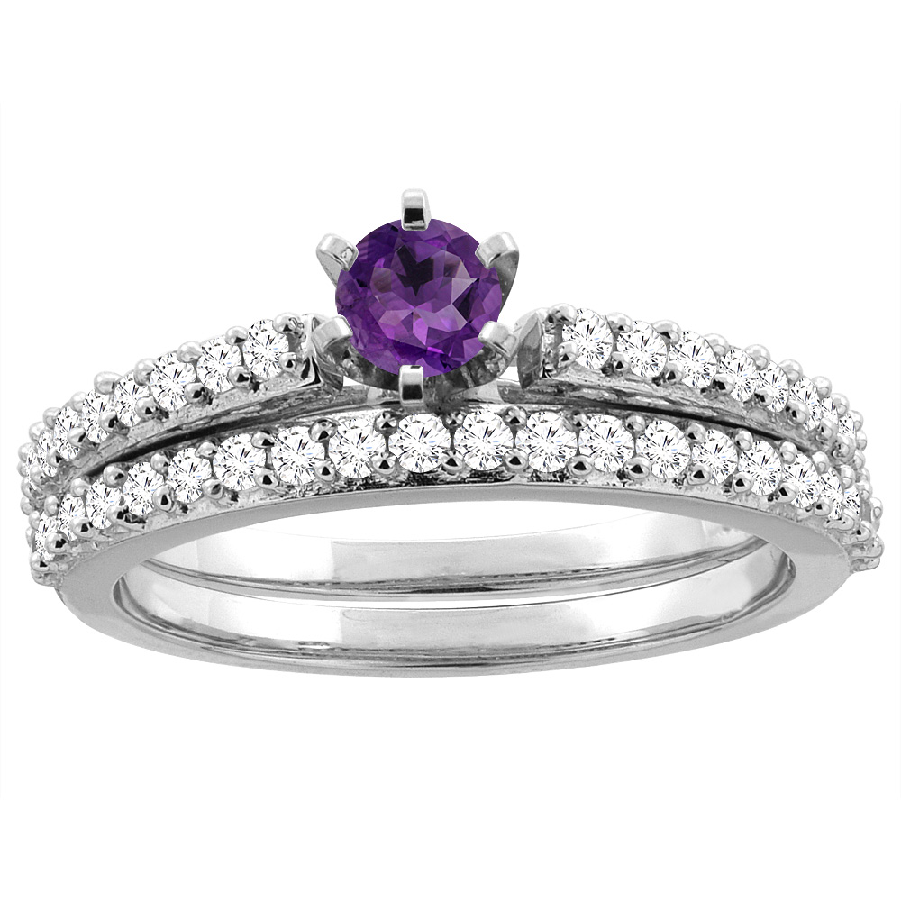 10K White Gold Natural Amethyst 2-piece Bridal Ring Set Round 4mm, size 5 by Gabriella Gold