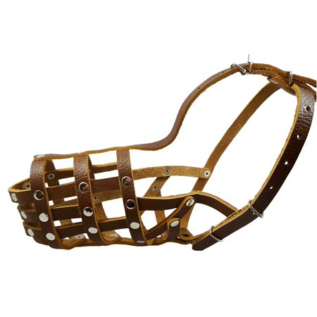 "Secure Leather Mesh Basket Dog Muzzle #13 Brown - German Shepherd, Labrador, Husky, Retriever (Circumference 12.25"", Snout Length 4.75"")"