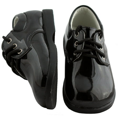 Black Shiny Round Toe Tuxedo Shoes Infant Toddler - Tux Shoes