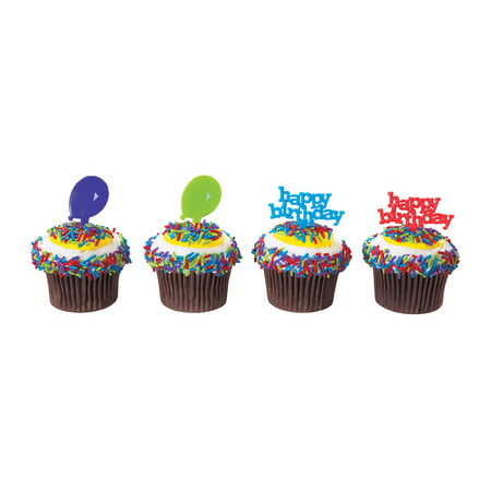 Happy Birthday & Balloons -24pk Cupcake / Desert / Food Decoration Topper Picks with Favor Stickers & Sparkle Flakes