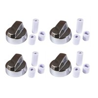 4-Pack Silver Chrome Generic Design Stove / Oven Control Knob w/ 12 Adapters