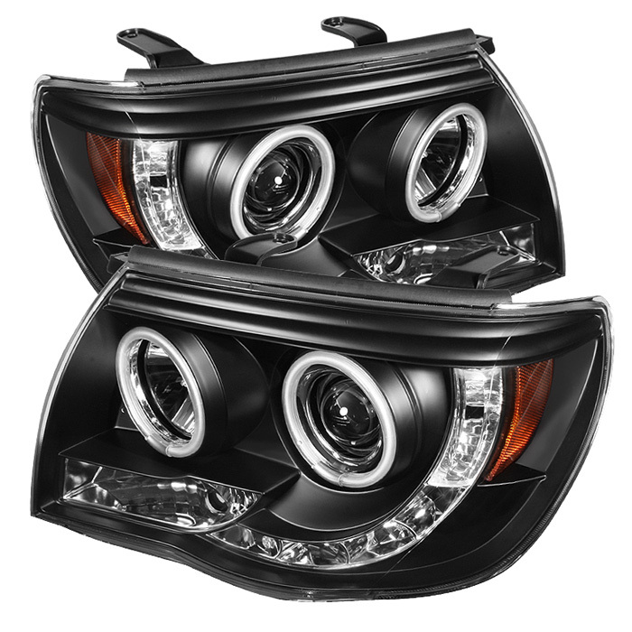 Spyder Toyota Tacoma 05-11 Projector Headlights - CCFL Halo - LED ( Replaceable LEDs ) - Black - High H1 (Included) - Low H1 (Included)