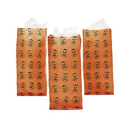 Lot of 12 Frosted Pumpkin Orange Treat Bags Party Candy (Loot Filled Pumpkin)