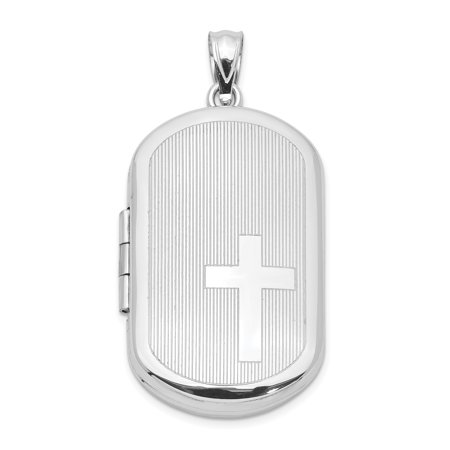 925 Sterling Silver Side Cross Religious Rectangular Photo Pendant Charm Locket Chain Necklace That Holds Pictures Shaped Gifts For Women For Her mothers day gifts mom wife (Rectangular Pendant)