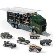 10 In 1 Diecast Military Vehicle Carrier Truck .Mini vehicles has movable parts, and made with realistic design.