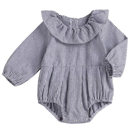 Baby Girls Long Sleeve Striped Bodysuit Ruffle Romper Doll Collar Jumpsuit - Collar Bodysuit