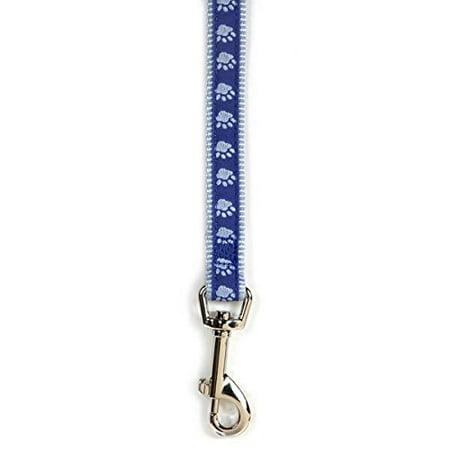 Two Tone Pawprint Dog Lead Leash Selections Stylish Paw Print Reinforced Ribbon(Large Blue Lead) Print Dog Leash