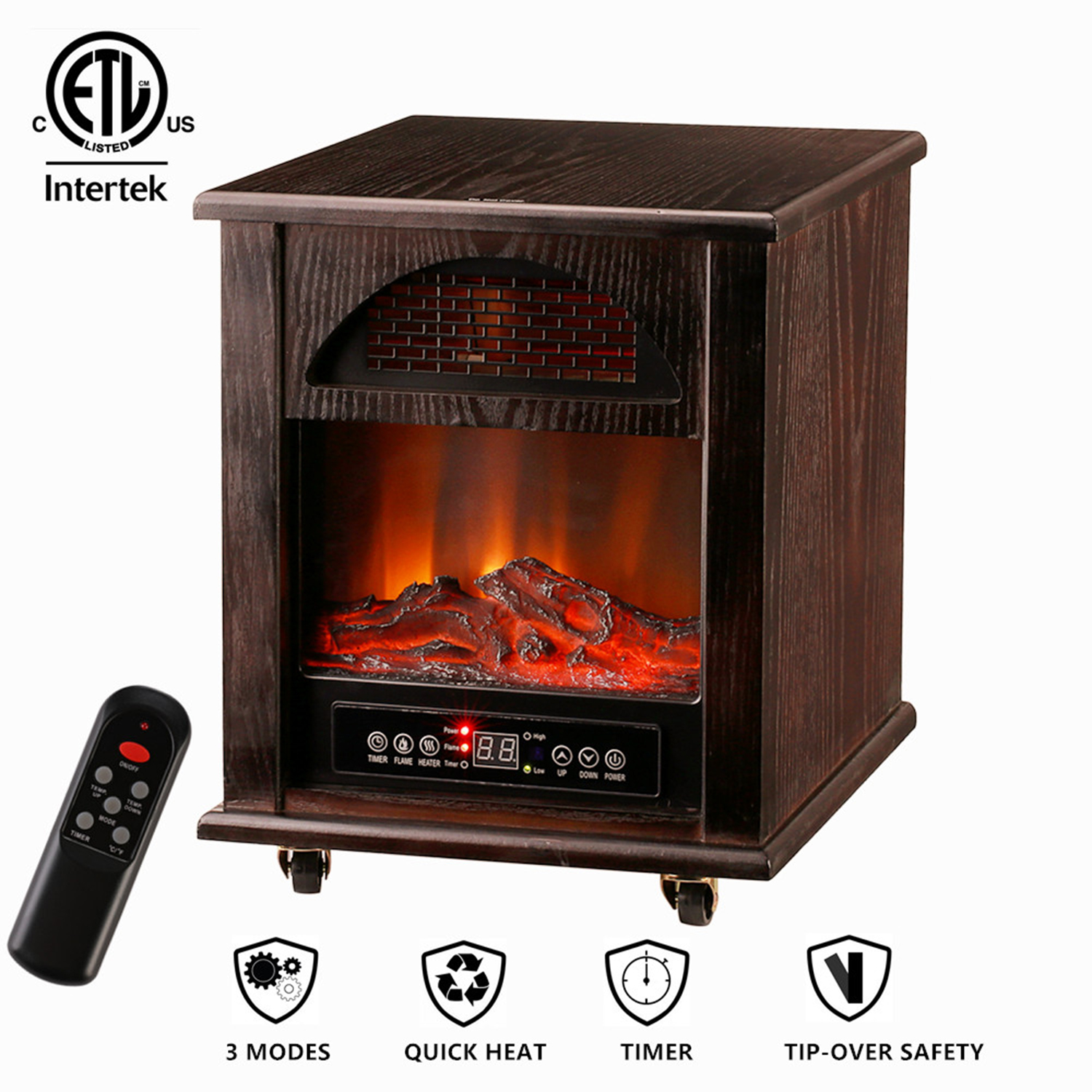 Ainfox Infrared Quartz Electric Fireplace Stove Space Heater , 1000W-1500W  Heating Systems with Thermostat, Tip-Over and overheat protection,Remote Control 12hr Timer & Filter (Dark Brown)