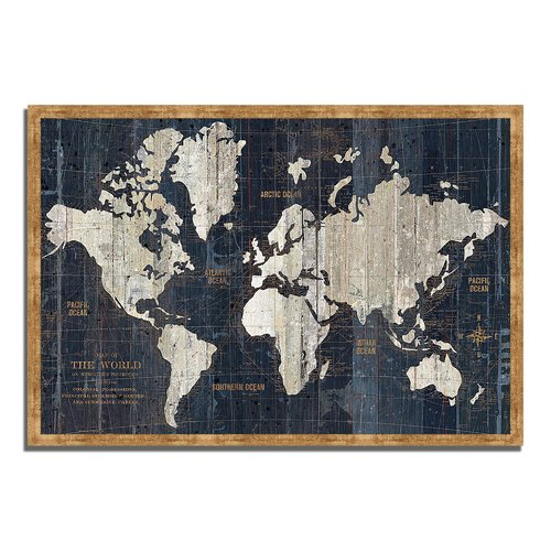 Longshore Tides 'Old World Map Blue' Framed Graphic Art