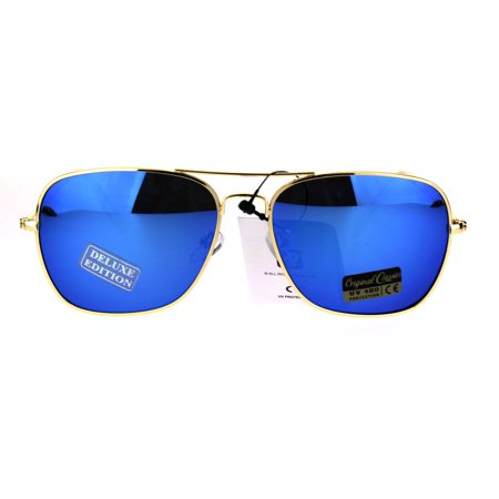 Mens Color Mirror Officer Rectangular Metal Rim Aviator Sunglasses Blue