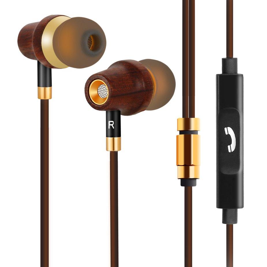 LESHP Brown Earbud Headphone In-ear Earphone with Microphone & Volume Control