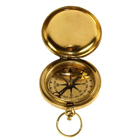 2  Solid Brass Pocket Compass   With Cover   Hiking