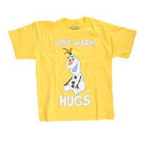 Disney Frozen Olaf I Like Warm Hugs Youth Yellow T-Shirt | M