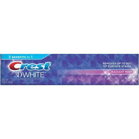 Crest 3D White Whitening Toothpaste, Radiant Mint, 6.4 oz