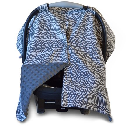 Kids N' Such 2 in 1 Car Seat Canopy Cover with Peekaboo Opening™ - Large Carseat Cover for Infant Carseats - Best for Baby Girls and Boys - Use as a Nursing Cover - Herringbone with Grey Dot Minky