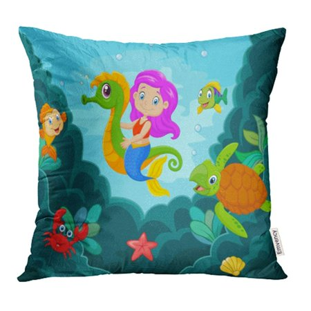 CMFUN Red Fairy Cartoon Little Mermaid Playing with Seahorse Hair Princess Sea Tale Baby Pillow Case Pillow Cover 20x20 inch Throw Pillow Covers](Seahorse With Babies)