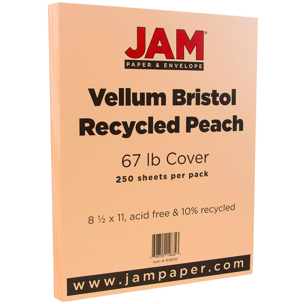 JAM Paper Vellum Bristol Cardstock, 8.5 x 11, 67 lb Peach, 250 Sheets/Pack