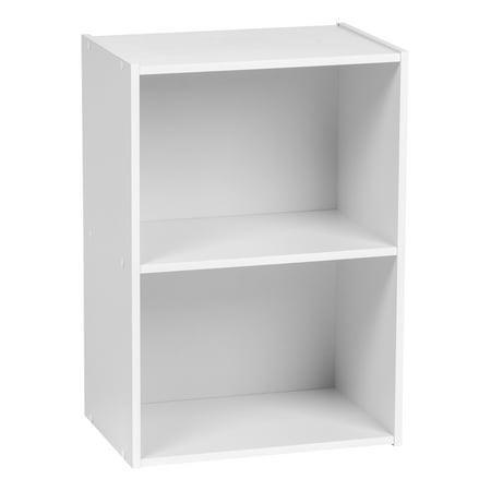 IRIS USA 2-Tier Wood Book Shelf, White